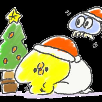クリスマスの準備を進めるひよことクラゲ
