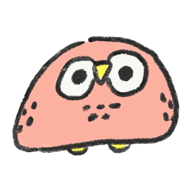 ピンク色のフクロウ