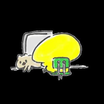 PCのキーボードの上で寝る猫