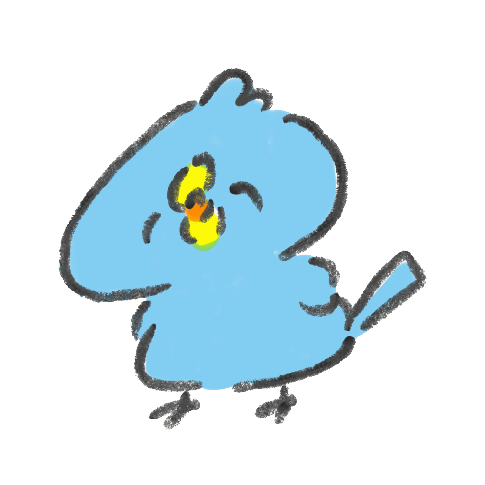 ニコニコ笑顔の青い鳥