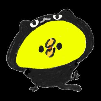 黒猫のきぐるみを着たひよこ