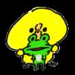 カエルの顔をひっぱるひよこ