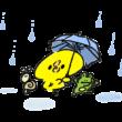 雨降りの中おどるひよことカエルとカタツムリ