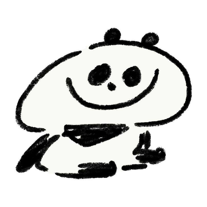 笑顔が座っているパンダ