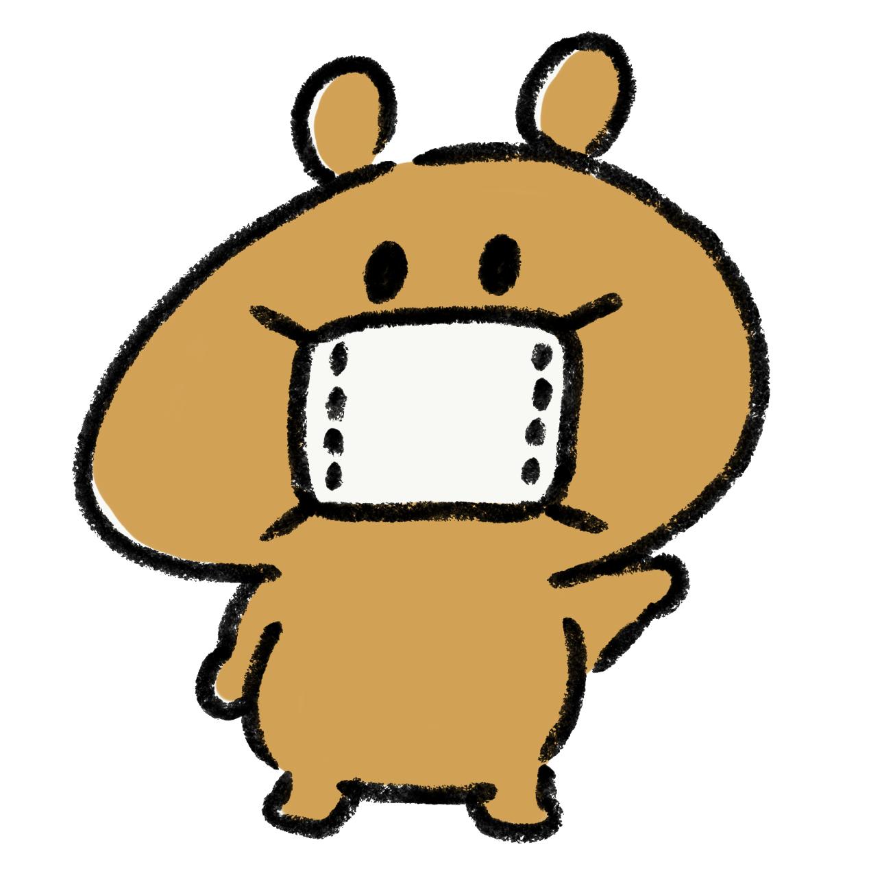 マスクの着用をお願いする熊