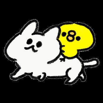ひよこを背に歩く猫(GIFアニメ)