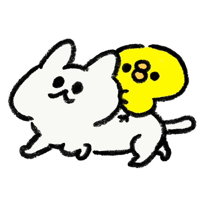 ひよこを背に歩く猫