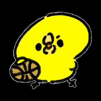 バスケットボールでドリブルをするひよこ(GIFアニメ)