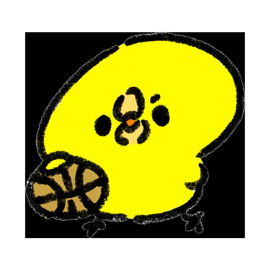 バスケットボールでドリブルをするひよこ