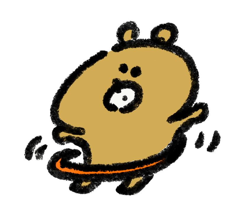 フラフープをする熊