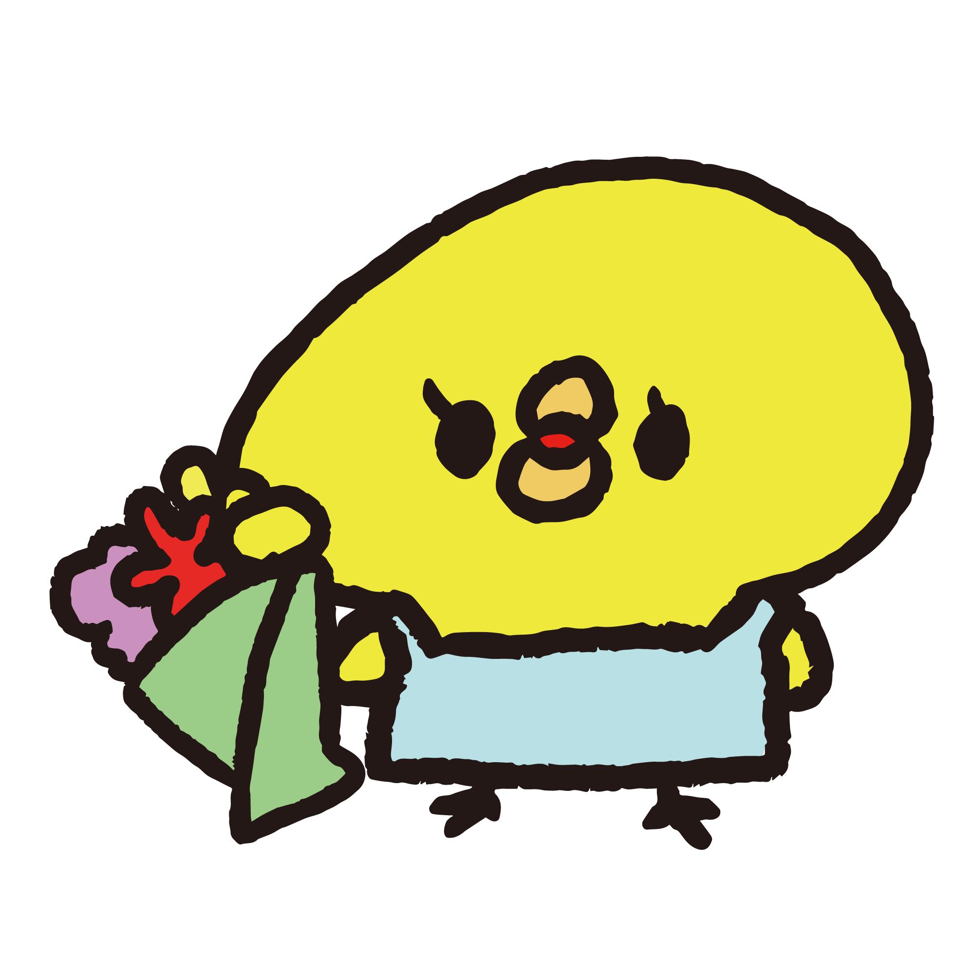 花束を持った花屋のひよこ