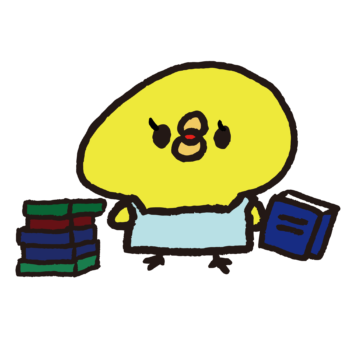 本を持った本屋のひよこ