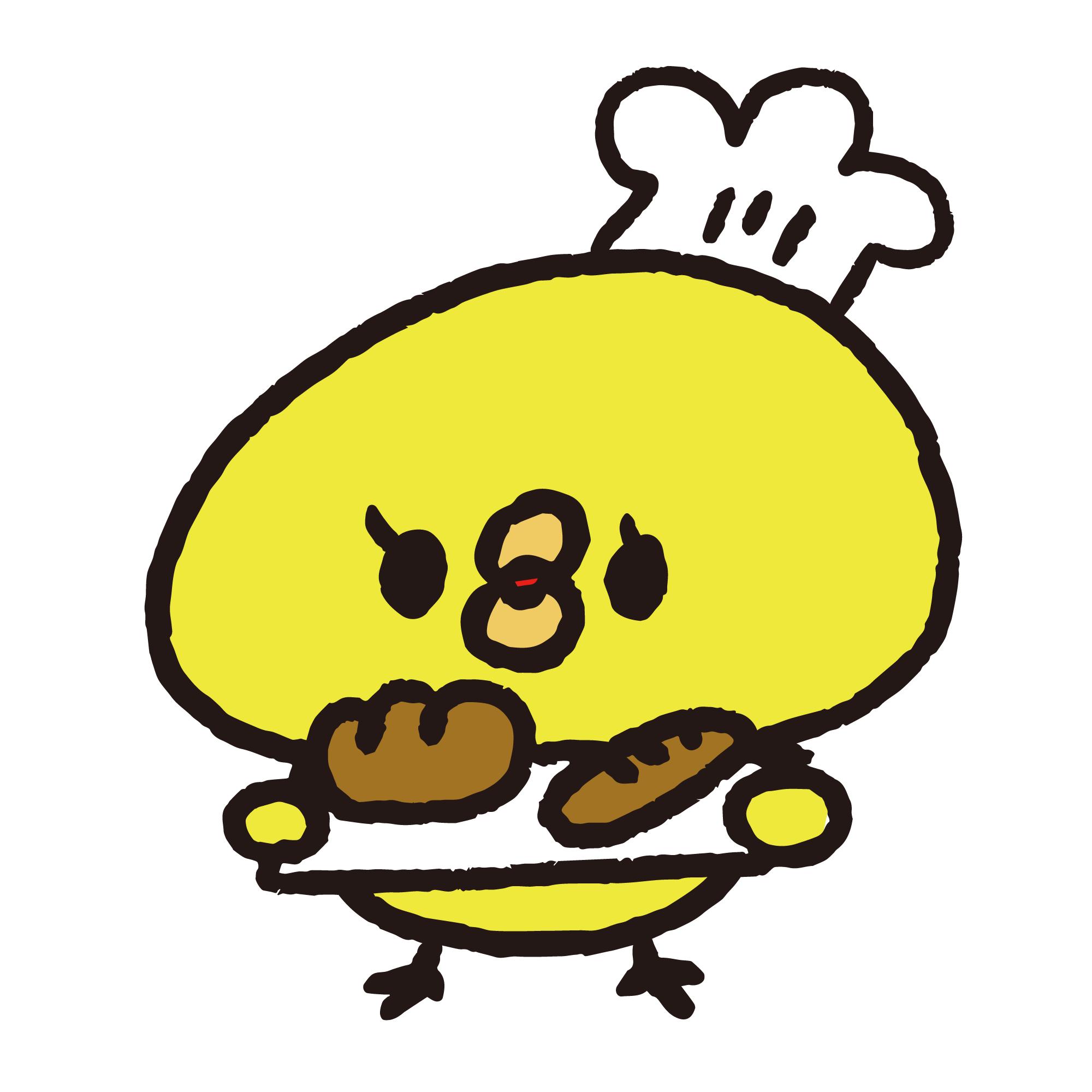 パンを持ったパン屋のひよこ