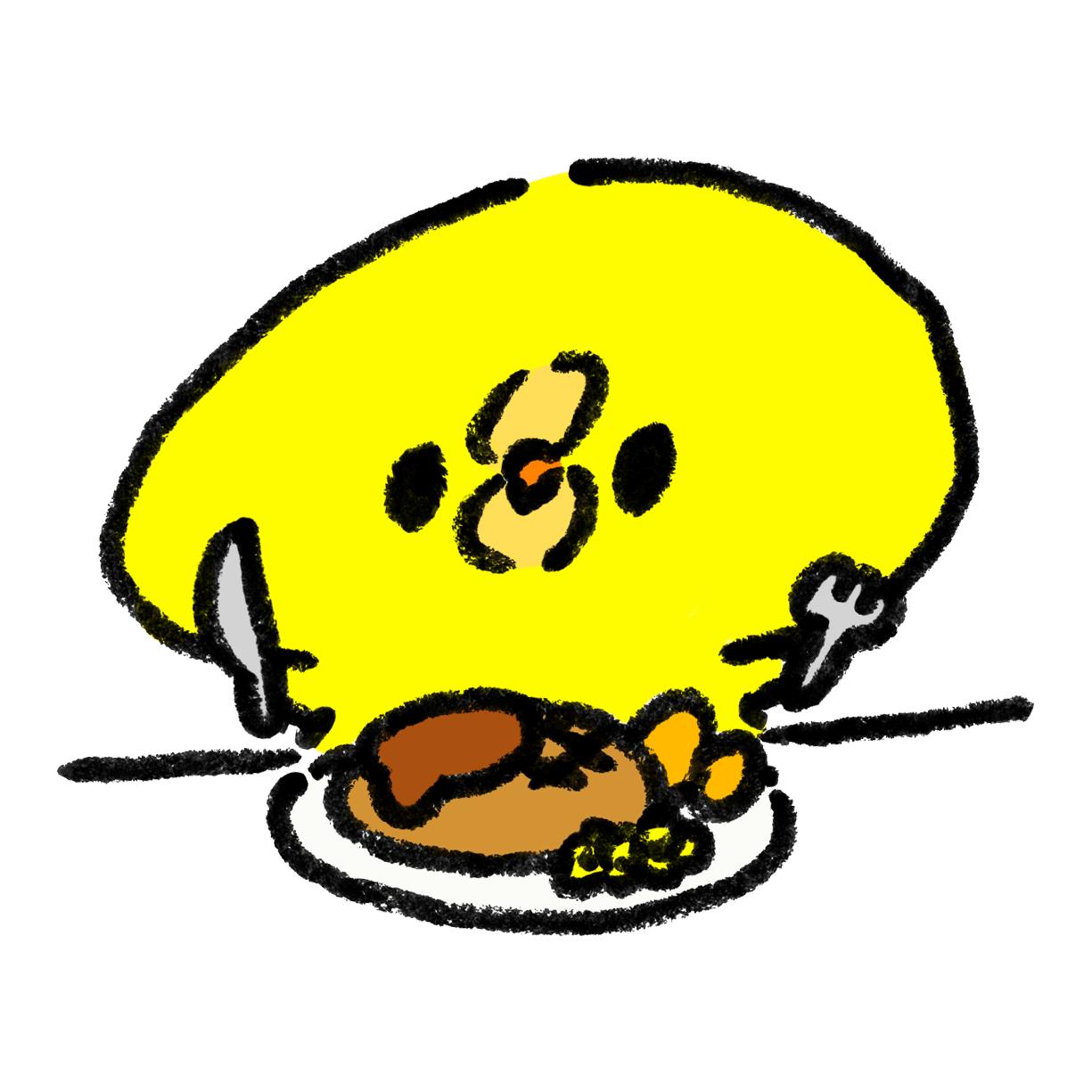 ハンバーグを食べるひよこ