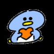 ハートを抱えて座るペンギン