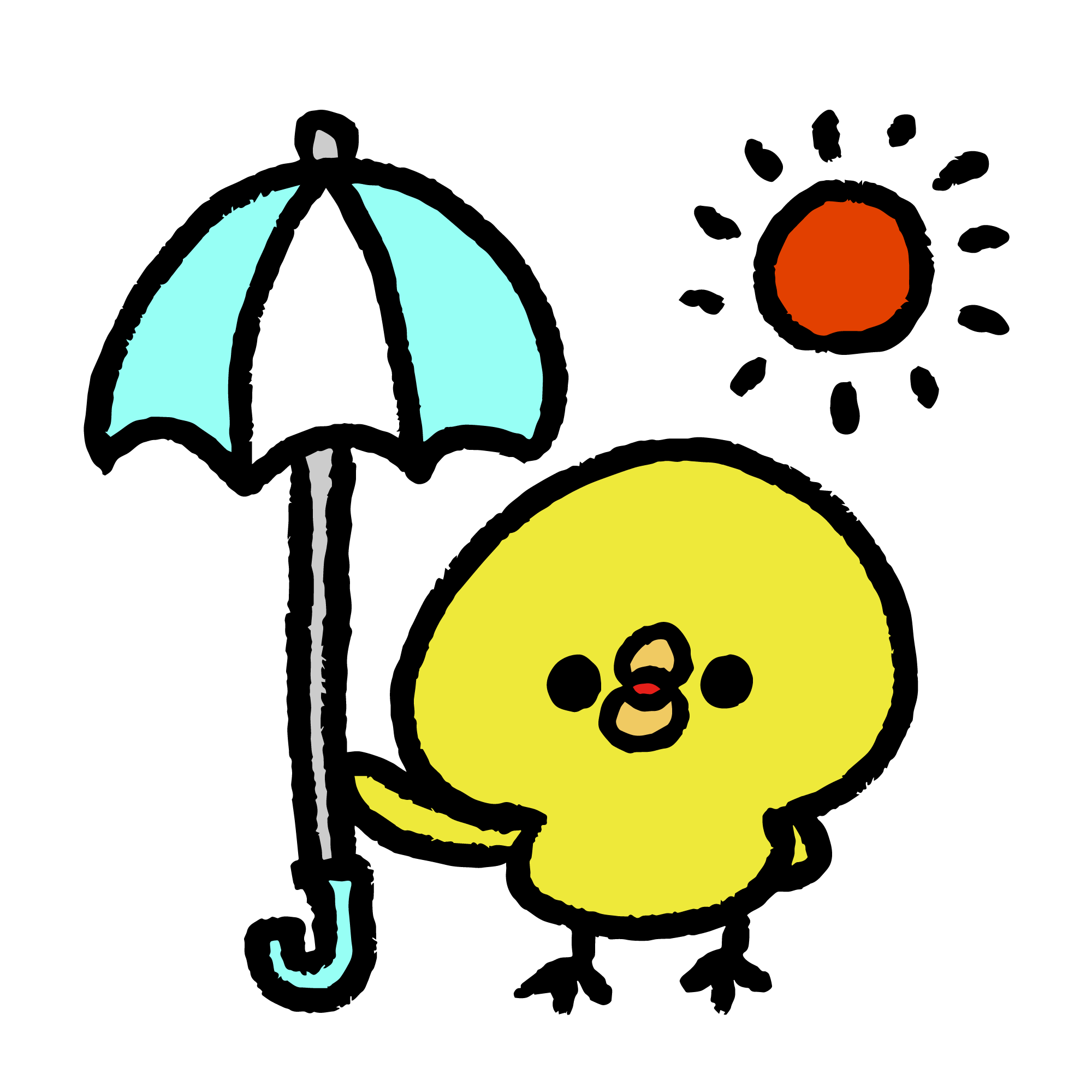 日傘をさすひよこ