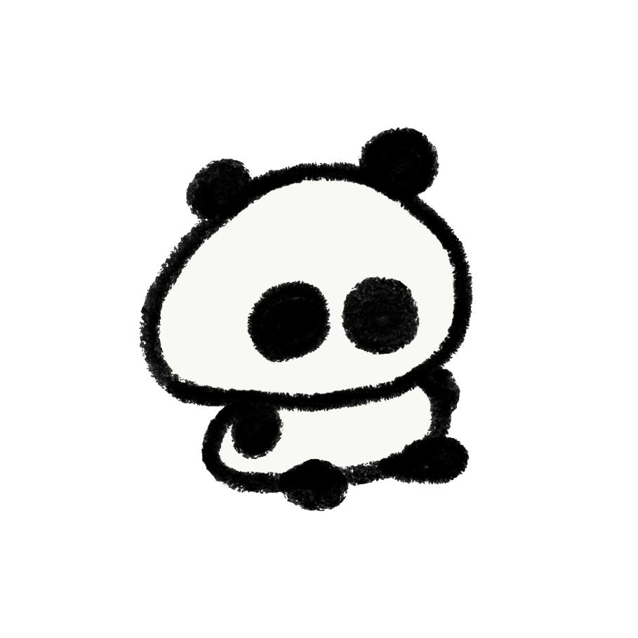 無の状態で座っているパンダ