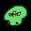目つきの悪い緑色のひよこ