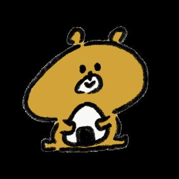 おにぎりを抱える熊