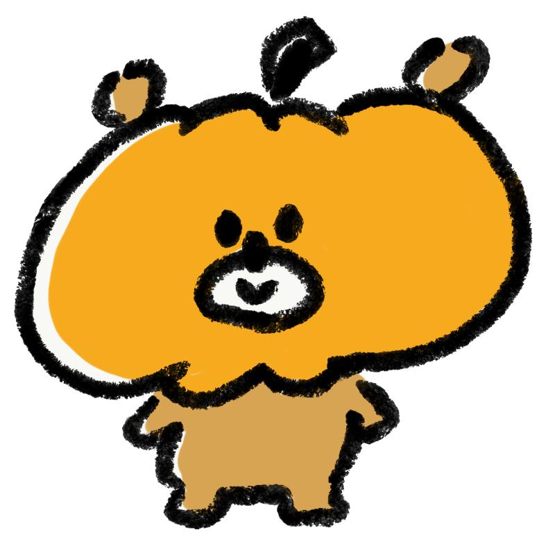 かぼちゃをかぶった熊