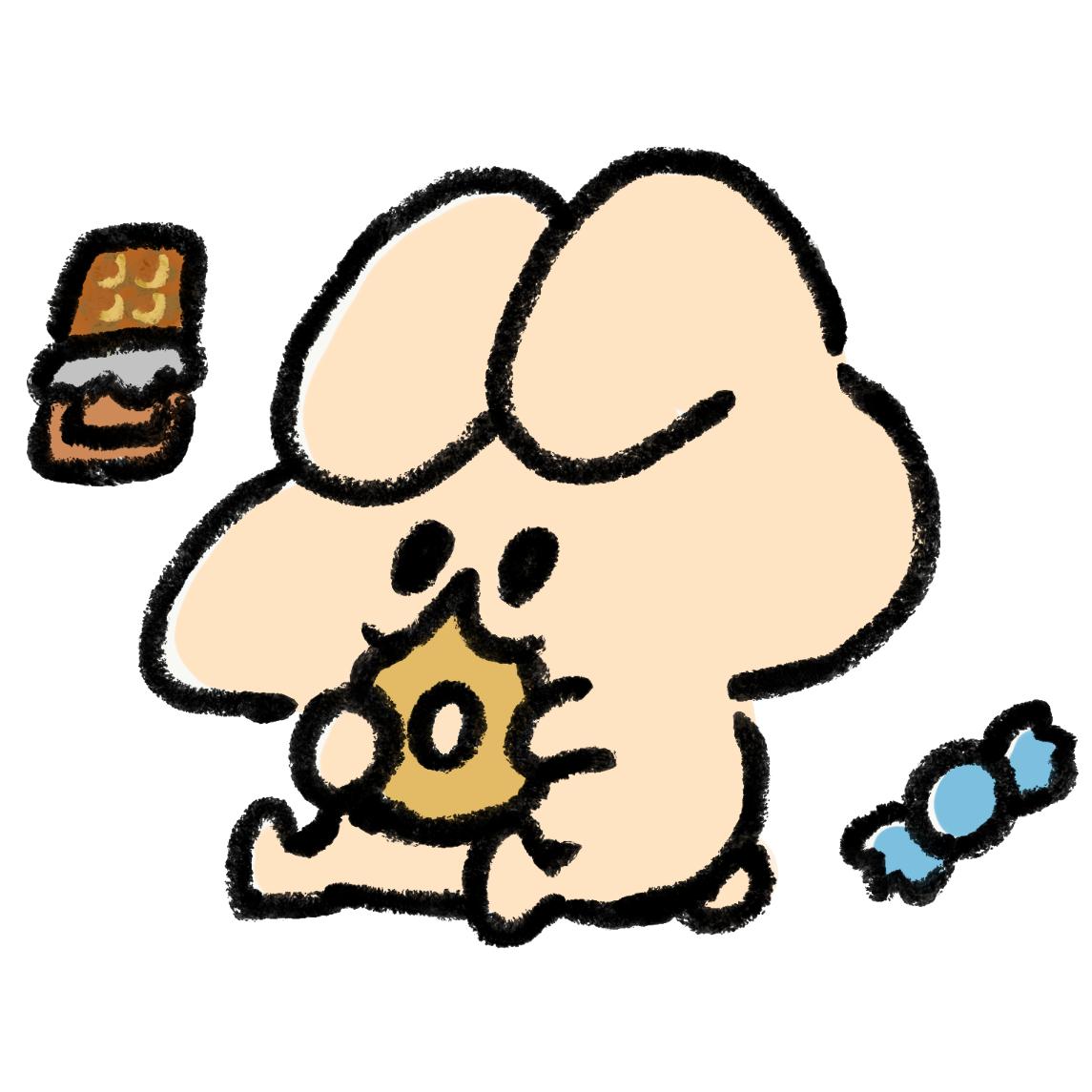 お菓子を食べるうさぎ