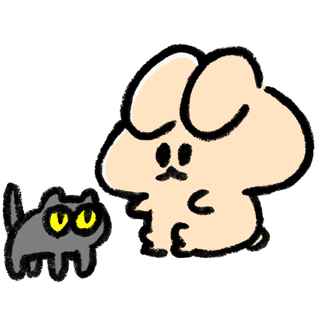 黒猫に警戒されるうさぎ