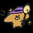 ほうきを持つ魔女熊のイラスト
