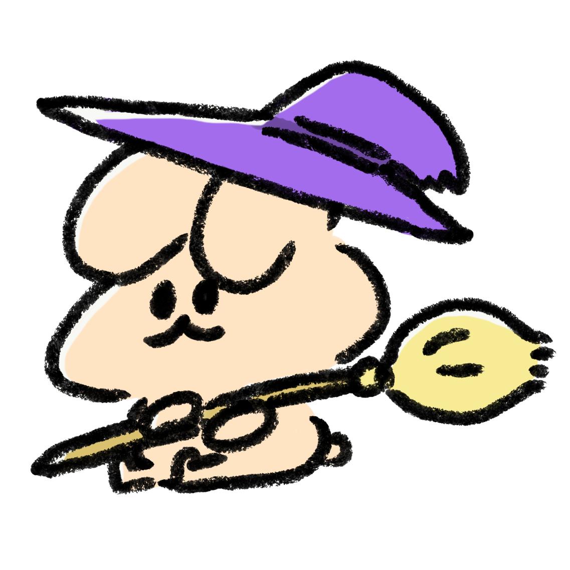 魔女の帽子をかぶったうさぎ