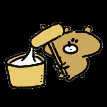 餅つきをする熊
