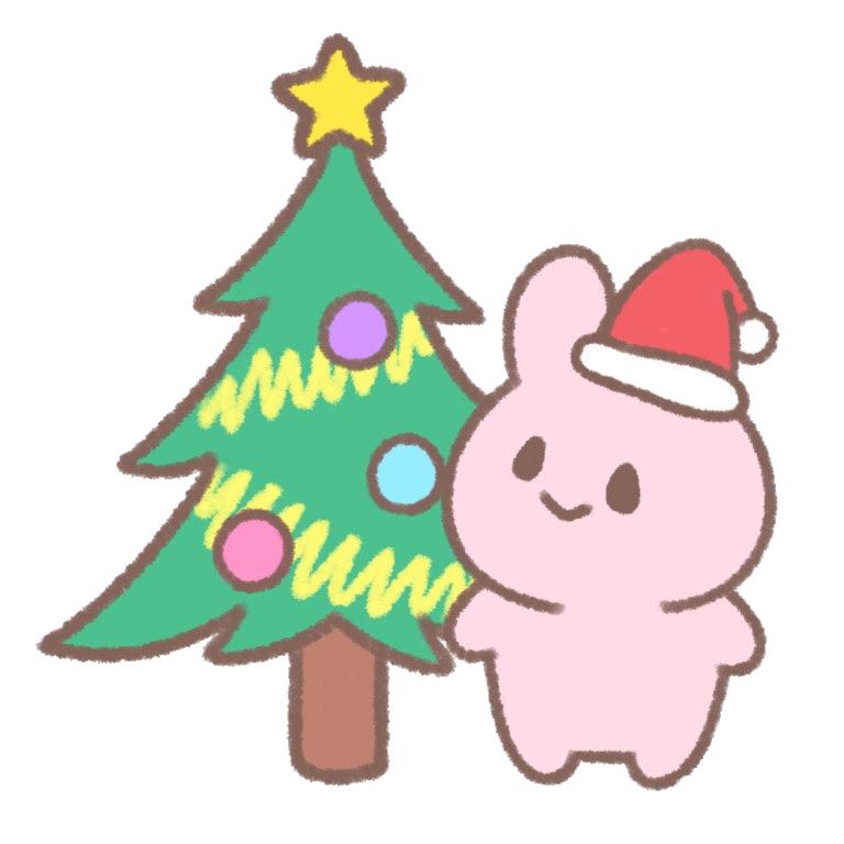 クリスマスの飾りつけをするうさぎ