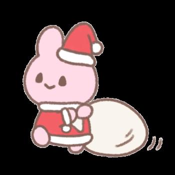 クリスマスにプレゼントをくばるうさぎサンタ