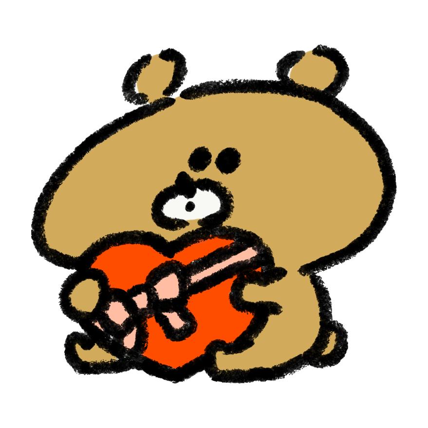 バレンタインにチョコレートを渡す熊