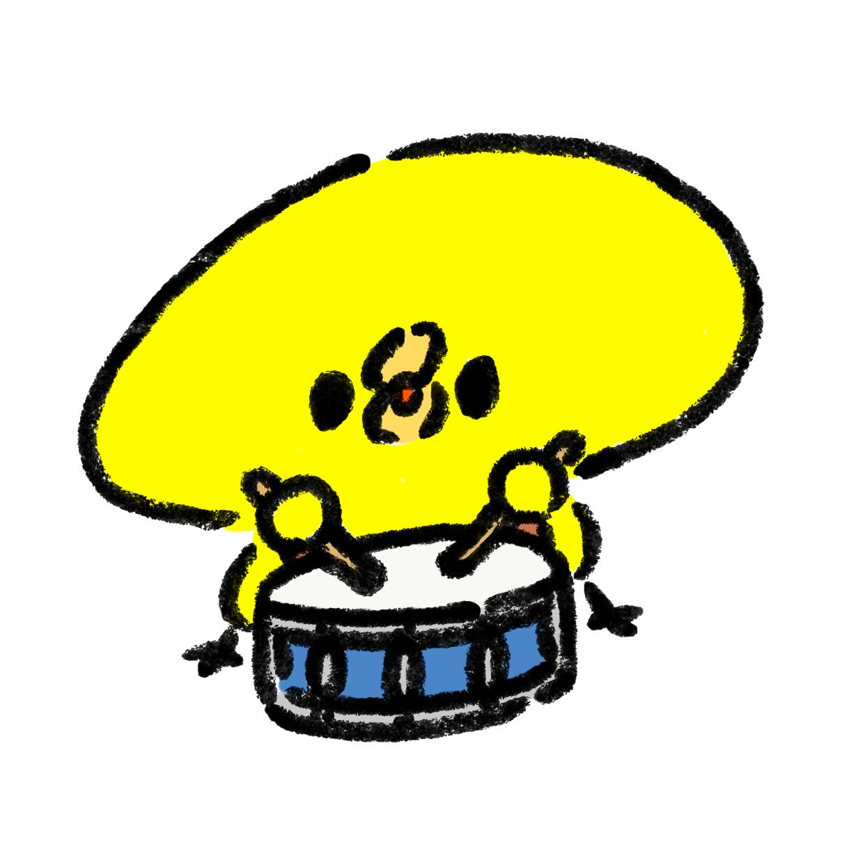 小太鼓をたたくひよこ