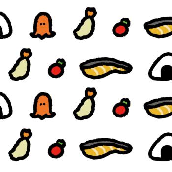 お弁当の具材がいっぱいの背景