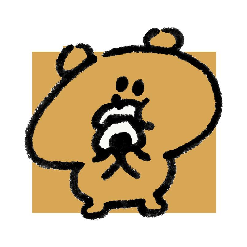 おにぎりを食べている熊
