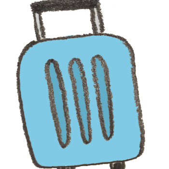 旅行用のスーツケース(青)
