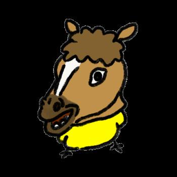 馬のゲームが流行っていることを知り馬のかぶりもので人気にあやかろうとしているひよこ