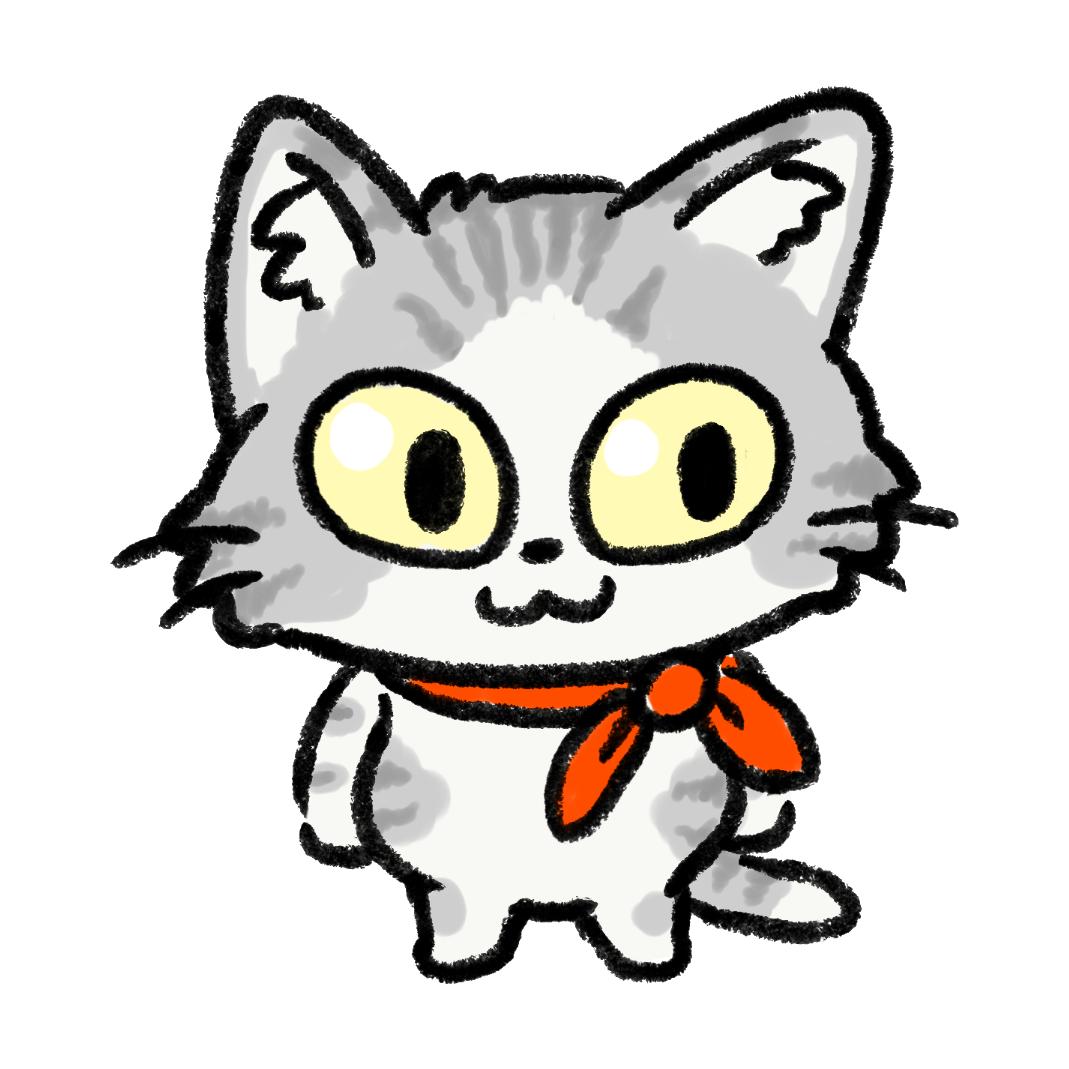 スカーフを巻いた灰色の猫