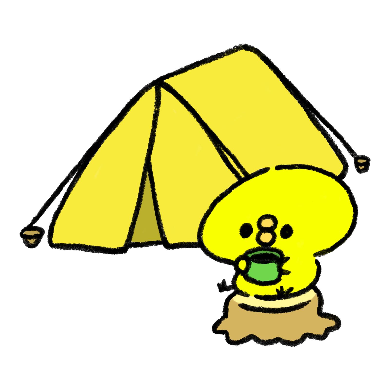 テントの前でキャンプを楽しむひよこ
