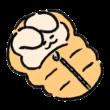 寝袋で眠るうさぎ