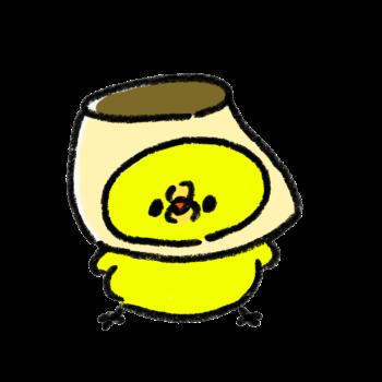 プリン好きが高じてプリンになったひよこ(GIFアニメ)