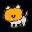 おばけかぼちゃをかぶった猫