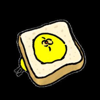 食パンから突き出てくるひよこ