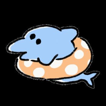 浮き輪で泳ぐイルカ