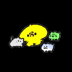 猫カフェで色んな種類の猫に囲まれるひよこ