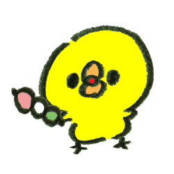 三食団子を持つひよこ(GIFアニメ)のイラスト