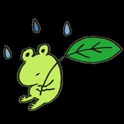 葉っぱを持ったカエルのイラスト