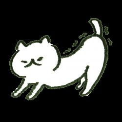 寝起きに伸びをしている猫のイラスト