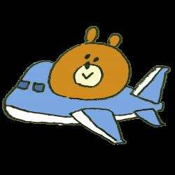 飛行機で旅行に行く熊のイラスト