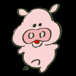 短い足を伸ばしておどる豚のイラスト